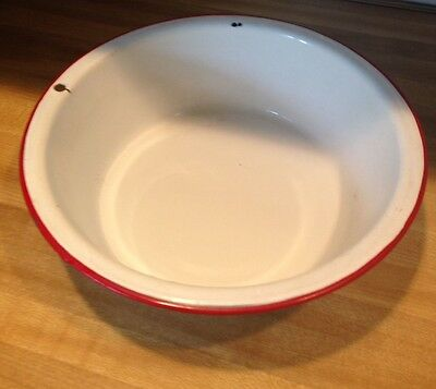 "Vintage White Enamelware 11""basin Bowl With Red Trim"