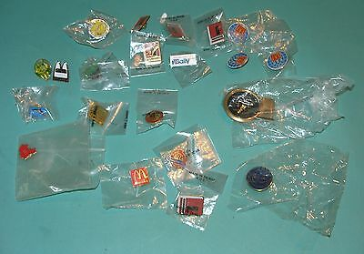 Lot Of 21 McDonald's Vendors Convention Crew Lapel Pins Buttons Money Clip