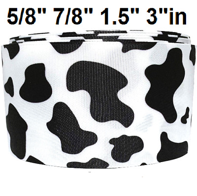 "GROSGRAIN RIBBON 7/8"", 1.5"" & 3"" COW SPOTS PRINTED For Gifts Hairbows  BULK"