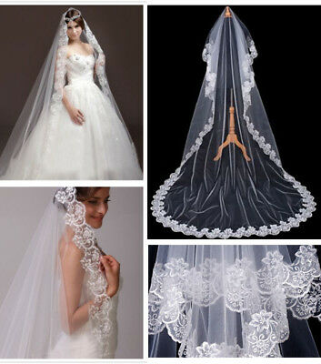 1T Extra Long 3m Bridal Wedding Veil Cathedral Length Lace Edge With Comb Ivory