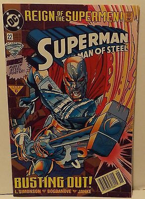 SUPERMAN MAN OF STEEL #22 June 1993 DC Comic REIGN OF THE SUPERMEN BUSTING OUT!