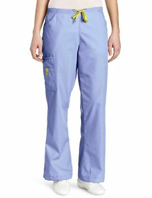 WonderWink Women's Scrubs Romeo 6 Pocket Flare Leg Pant Ceil Blue X-Large/Petite
