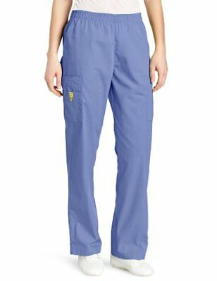 WonderWink Women's Scrubs Quebec Full Elastic Cargo Pant Ceil Blue Small/Petite