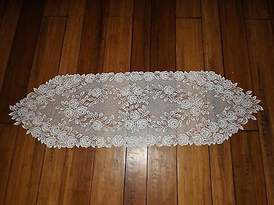EUC lace table runner-White-roses