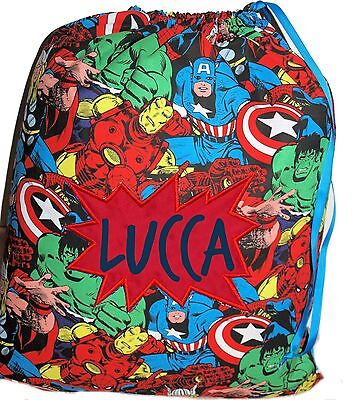 Personalised drawstring library bag - Avengers