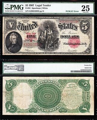 "VERY NICE Bold & Crisp VF $5 1907 ""WOODCHOPPER"" US Note! PMG 25! K30810332"