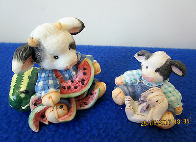 Two 1994 Enesco Mary'S Moo Moos Figurines– Udderly Refreshing & Some Bunny Loves