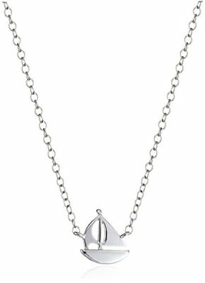 "Sterling Silver Mini Sailboat Stationed Necklace 16""+2"" Extender"