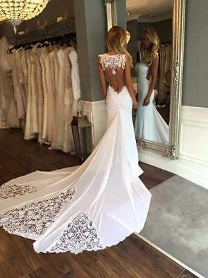 Hot Slim 2017 Chiffon Lace Mermaid Wedding Dresses Bridal Custom Size 4 6 8 10++