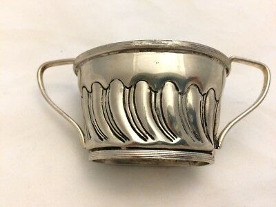 VTG -Antique SILVER PLATE HALF FLUTED SMALL SUGAR BOWL~2 handle CAUDLE-Old Spoon