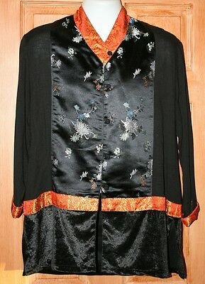 INDONESIAN BLACK RAYON lounge JACKET TOP S ASIAN ETHNIC ORIENTAL NICE