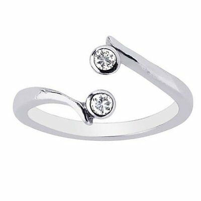 .925 Sterling Silver 2 CZ Crossover Toe Ring or Ring Body Art Adjustable