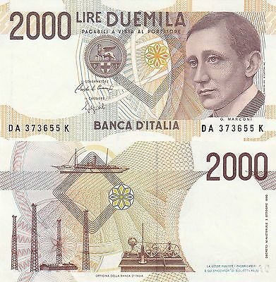 Italy 2000 Lire (1992)- Marconi/Electric Towers/p115 UNC