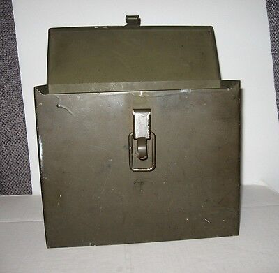 Antique old heavy metal hinged mail box container divided slots shabby chic