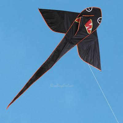 Black Shark Cartoon Triangle Kite Outdoor Fun Sports Kids Children Toy Gifts