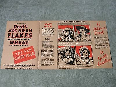 1930's Post Bran Flakes Box, Unused, Buffalo Bill, Robert Peary, Molly Pitcher