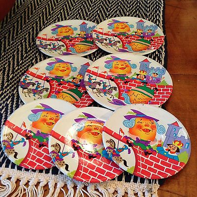 Vintage Humpty Dumpty Tin Metal Child Or Doll Dishes Plates & Saucers