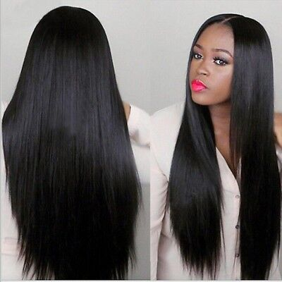 """24"""" Natural Long Straight Natural Black Heat resistant Synthetic Lace Front Wig"""