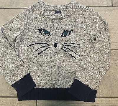 Baby Gap Cat Face Sweater Navy Gray Size 3 Years Whiskers