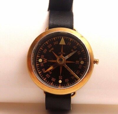 Vintage Military Wrist Compass, Copper, JAPAN, Leather Band, WORKS!