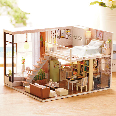 DIY Waiting For The Time Dollhouse Miniature House Furniture Kit Led Light