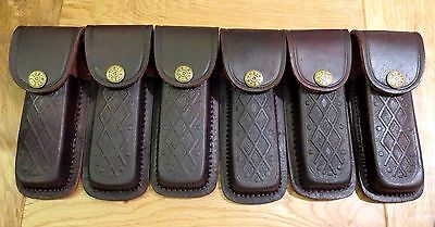 "Lot of 6 brown textured leather sheaths -  knives up to 5"".  fits Buck 110"