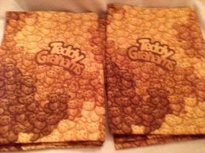 Pair Of Vintage Teddy Grahams Pillow Cases Standard Size Brown Camouflage