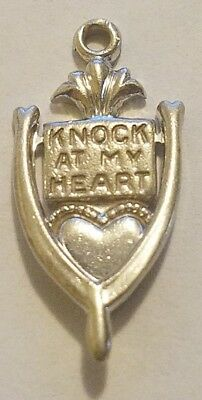 Vintage Sterling Silver Knock At My Heart Door Knocker Charm