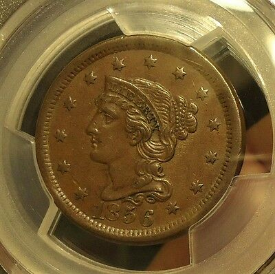1856  PCGS  AU 55  Braided Hair Large Cent,  Very Nice,  Listed at $180.00