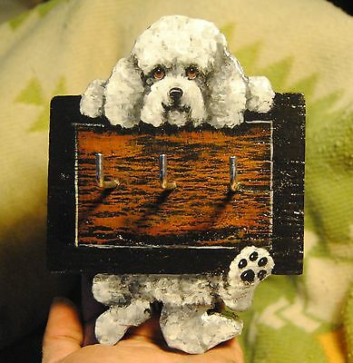 Original Painting~Bichon Frise~Dog~Leash~Key~Jewelry~Hook~Hanger~Whimsical~Folk