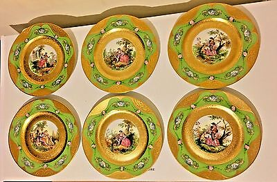 Exquisite Rare Bavaria Heinrich & Co Gold Encrusted Dinner Plates Set Of 6