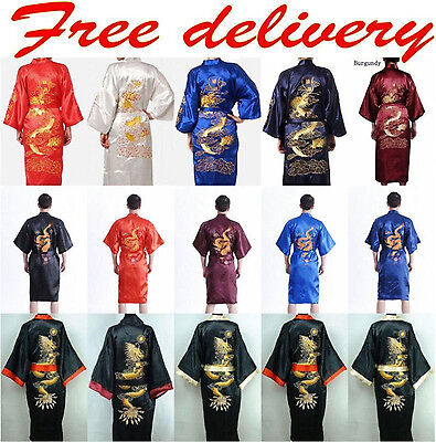 ~New Men's Silk/Satin Japanese Chinese Kimono Dressing Gown Bath Robe Nightwear!