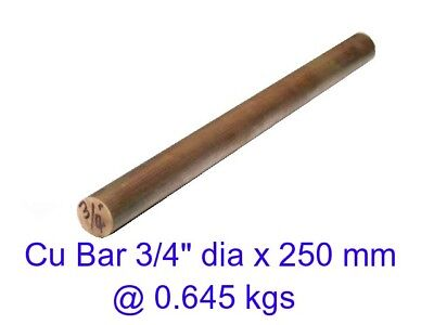 "Copper Bar 3/4"" dia x 250 mm-Steam-Sculpture-OG"