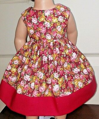 Doll Clothes/Handmade/18 Inches/American Girl Dolls/Pink & Red Flowers Dress.