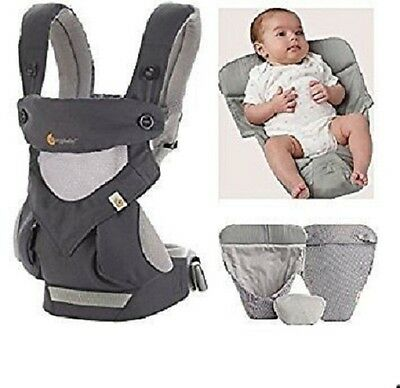 NEW Ergobaby 360 4 Positions Baby Carrier Cool Air  Carbon Grey & INFANT INSERT