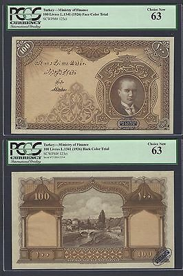 Turkey Face & Back100 Lira L1341(1926)  P123ct Color Trial Uncirculated