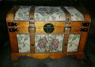 Vintage antique wooden box chest furniture with roses