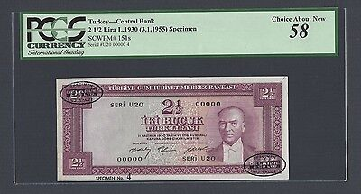 Turkey 2 1/2 Lira L1930(3-1-1955) P151s Specimen TDLR N4 About Uncirculated