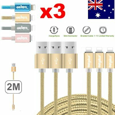 3Pack 2M USB Cable Heavy Duty for Apple Iphone 7 6 5 Charger Charging Cord