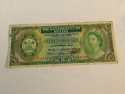 Belize Banknote 1976 One Dollars Circulated (Used) Free shipping