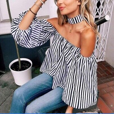 Mode Women Striped Off The Shoulder Casual Loose Long Sleeve T-Shirt Tops Blouse