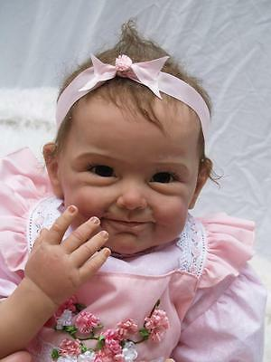 """Life like Smile Girl 22 """"Reborn Doll Handmade Real Life Toy Silicone Vinyl Baby"""