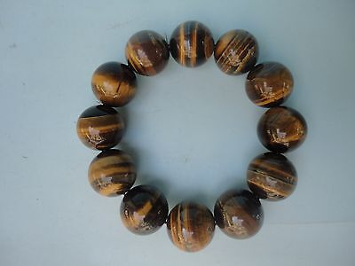 Collected China Ancient Tiger Eyes Stone Carving Bracelets Charming Natural Jade