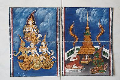Antique Thailand Manuscript Painting from the 19th Century on book  02