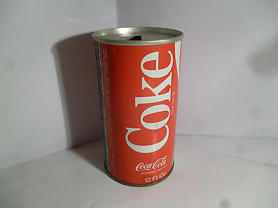 Vintage 1970's Straight Steel Coca-Cola Coke Pull Tab Soda Can Speedway Indiana