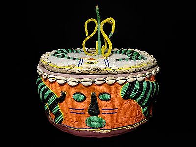 Yoruba Antique Glass-Beaded Nigerian Storage Basket W/faces, Fauna Cowrie Shells