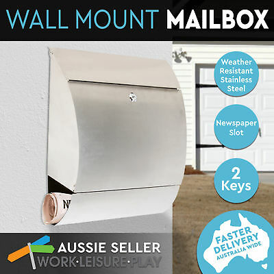 Letterbox Mail Box Wall Mount Post Newspaper Stainless Steel High Quality 304SS