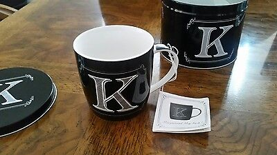 Home Essentials Black And White Coffee Cup Monogrammed Initial K W/ Tin