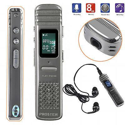 8GB LCD Digital Audio Voice Recorder Dictaphone MP3 Player Speaker Rechargeable