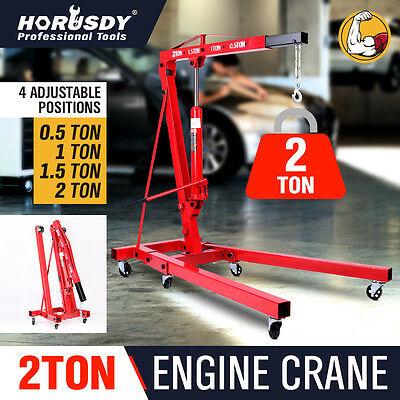 Hydraulic 2T Folding Engine Crane Stand Mobile Garage Hoist Lifter Workshop Lift